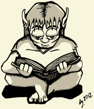 A young elf is sitting, reading a book